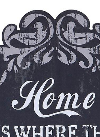 "Warm Design  ""Home is Where Heart is"" Duvar Dekoru Siyah"